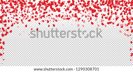 Trendy flat heart confetti of Valentines petals falling on transparent background. Flower petal in shape of heart confetti for Women's Day and Valentine's day.  Paper art vector illustration. EPS10.