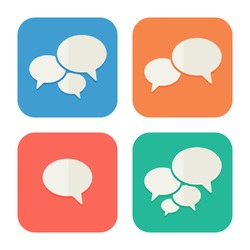 Trendy Flat Icons With Speech Bubbles. Set. Vector