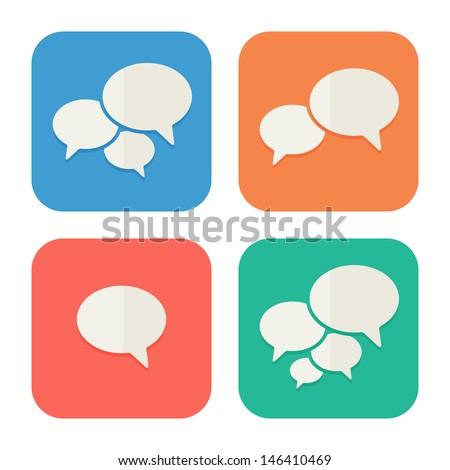 trendy flat icons with speech