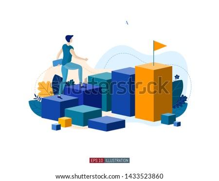 Trendy flat illustration. Career ladder. Motivation. Goal achievment. Way up.  Template for your design works. Vector graphics.