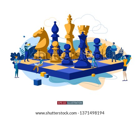 Trendy flat illustration. People work. Business strategy. Teamwork and competition. Chess game. Chess pieces. Template for your design works. Vector graphics.