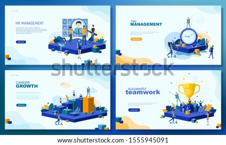 Trendy flat illustration. Set of web page concepts. HR management. Time management. Career growth. Successful teamwork. Teamwork metaphor concept. Template for your design works. Vector graphics.