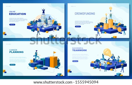 Trendy flat illustration. Set of web page concepts. Online education. Crowdfunding. Career planning. Successful teamwork. Teamwork metaphor concept. Template for your design works. Vector graphics.