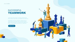 Trendy flat illustration. Successful teamwork page concept. People work. Business strategy. Teamwork and competition. Chess game. Chess pieces.Template for your design works. Vector graphics.