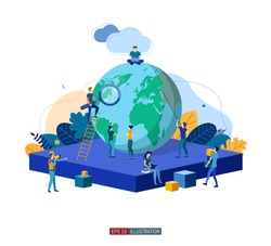 Trendy flat illustration. Teamwork metaphor concept. Globalisation. Learning. Education.  Knowledge. Training. Template for your design works. Vector graphics.