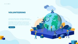 Trendy flat illustration. Volunteering page concept. Save planet. Teamwork metaphor concept. Globalisation. Learning. Education.  Knowledge. Training.Template for your design works. Vector graphics.