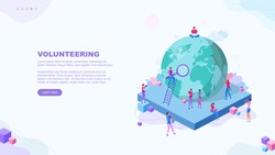 Trendy flat illustration. Volunteering page concept. Save planet. Teamwork metaphor concept. Globalisation. Learning. Education.  Knowledge. Training. Template for your design works. Vector graphics.