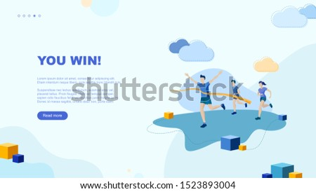 Trendy flat illustration. You win page concept. Victory. Goal achievment. Challenge. Cup reward. Prize. Marathon. Template for your design works. Vector graphics.