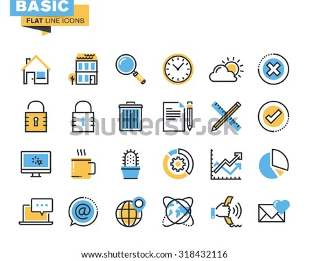 trendy flat line icon pack for
