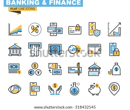 Trendy flat line icon pack for designers and developers. Icons for banking, finance, online payment, m-banking, savings, internet payment security, for websites and mobile websites and apps.