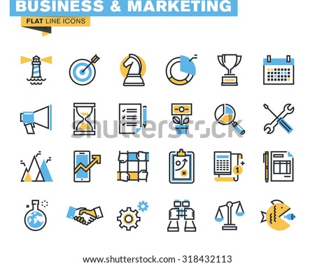 Trendy flat line icon pack for designers and developers. Icons for business, marketing, management, strategy, planning, analytics, finance, market research, for websites and mobile websites and apps.