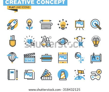 Trendy flat line icon pack for designers and developers. Icons for creative process, design, art, movie, photography, literature, painting, product development, for mobile and websites, and apps.