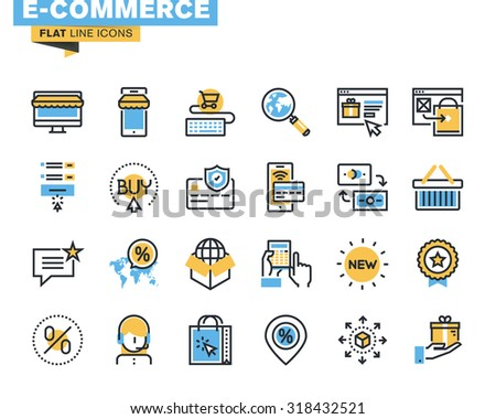 Trendy flat line icon pack for designers and developers. Icons for e-commerce, m-commerce, online shopping and payment, for websites and mobile websites and apps.