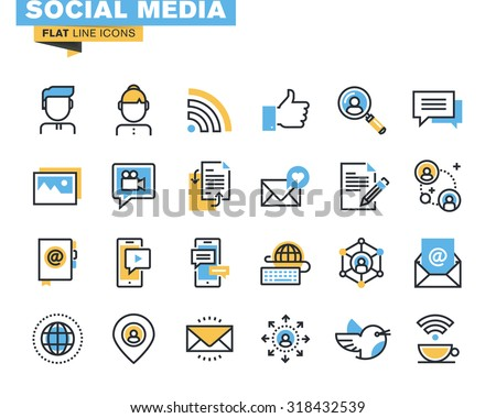 Trendy flat line icon pack for designers and developers. Icons for social media, social network, communication, digital marketing, for websites and mobile websites and apps.