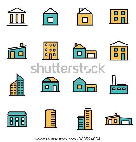 Trendy flat line icon pack for designers and developers. Vector line buildings icon set