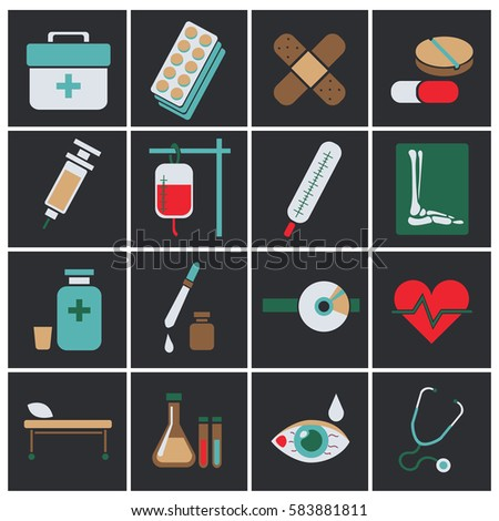 Trendy flat medical icons. Vector elements. Vector set of medical icons