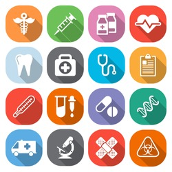 Trendy flat medical icons with shadow. Vector elements