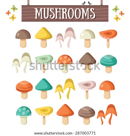 trendy flat mushrooms set