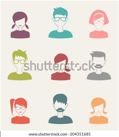 trendy flat people icons set 3