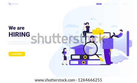 Trendy flat vector illustration: chair, cv, and briefcase with floral elements. Job search after education. Portfolio and experience, job search and qualification concept. We are hiring banner.