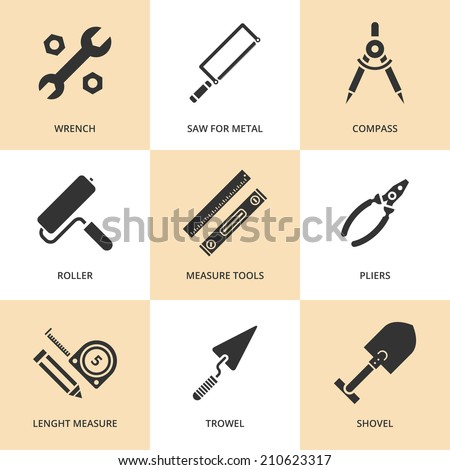 Trendy flat working tools icons black silhouettes. Vector illustration