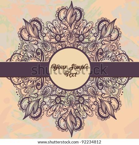 Trendy  Floral Background with Vintage Label