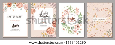 Trendy floral Easter templates. Good for poster, card, invitation, flyer, cover, banner, placard, brochure and other graphic design. Vector illustration.
