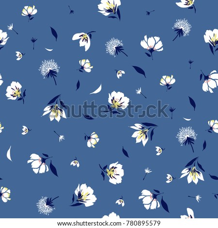 Trendy  Floral pattern in the blooming botanical  Motifs scattered random. Seamless vector texture. For fashion prints. Printing with in hand drawn style bright blue  background.