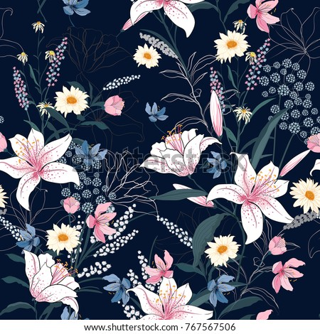 Trendy  Floral pattern in the many kind of flowers. Tropical botanical  Motifs scattered random. Seamless vector texture. Printing with in hand drawn style on dark background. - Shutterstock ID 767567506
