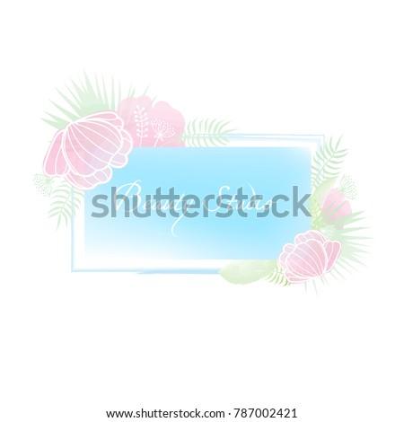 Trendy flower logo in pastel colors for flower store, beauty salon, spa or yoga studio, organic cosmetics. #787002421