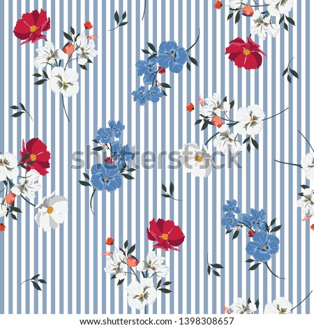 Trendy full of blooming flowers and leaves bright mood on light blue stripe seamless pattern Design for fashoin fabric ,wallpaper book , card and etc