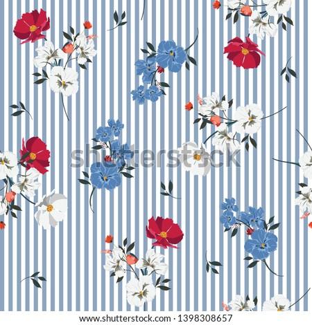 trendy full of blooming flowers