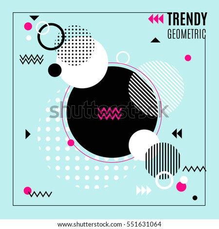 Trendy geometric composition with dotted and hatching circles waves and arrows in flat style vector illustration