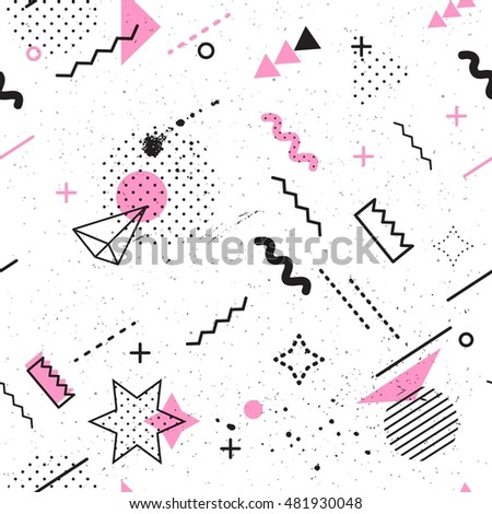 Trendy geometric elements memphis card. Seamless memphis pattern for tissue and postcards. Hipster poster, pastel  pink color background. Vector illustration