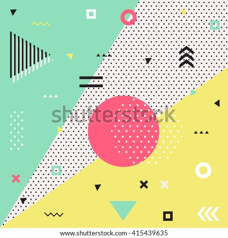 Trendy geometric elements memphis cards.  Retro style texture, pattern and geometric elements. Modern abstract design poster, cover, card design. #415439635