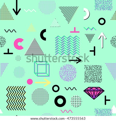 Trendy geometric elements memphis cards, seamless pattern. Retro style texture. Modern abstract design poster, cover, card design.