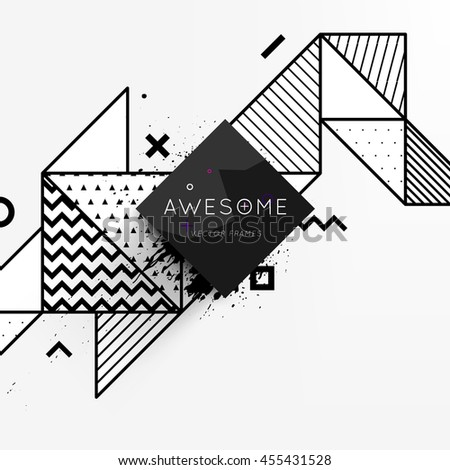 Trendy geometric flat pattern, frame with abstract background for brochure, flyer or presentations design, vector illustration. #455431528