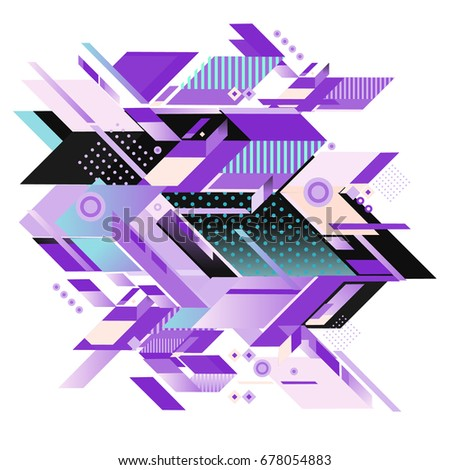 Trendy geometrical vector illustration with elements and abstract colorful textures. Design for summer holiday poster, card, brochure, and promotion template. Fashion art print and background. #678054883