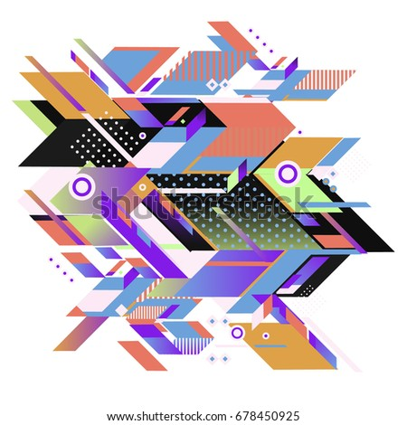 Trendy geometrical vector illustration with elements and abstract colorful textures. Design for summer holiday poster, card, brochure, and promotion template. Fashion art print and background. #678450925