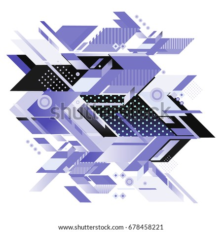 Trendy geometrical vector illustration with elements and abstract colorful textures. Design for summer holiday poster, card, brochure, and promotion template. Fashion art print and background. #678458221