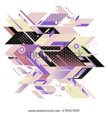 Trendy geometrical vector illustration with elements and abstract colorful textures. Design for summer holiday poster, card, brochure, and promotion template. Fashion art print and background. #678467839