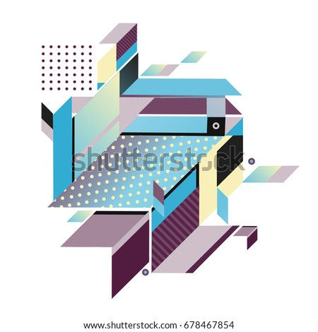 Trendy geometrical vector illustration with elements and abstract colorful textures. Design for summer holiday poster, card, brochure, and promotion template. Fashion art print and background. #678467854