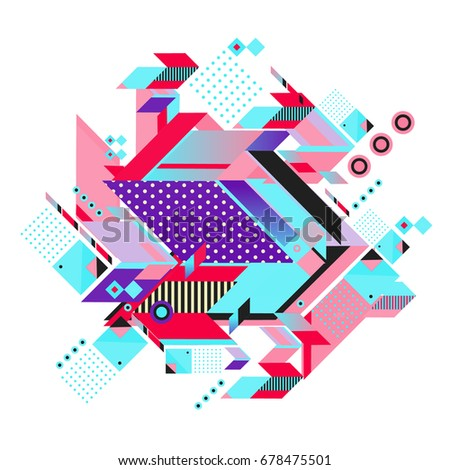 Trendy geometrical vector illustration with elements and abstract colorful textures. Design for summer holiday poster, card, brochure, and promotion template. Fashion art print and background. #678475501