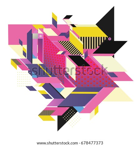 Trendy geometrical vector illustration with elements and abstract colorful textures. Design for summer holiday poster, card, brochure, and promotion template. Fashion art print and background. #678477373