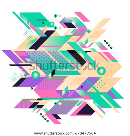 Trendy geometrical vector illustration with elements and abstract colorful textures. Design for summer holiday poster, card, brochure, and promotion template. Fashion art print and background. #678479584