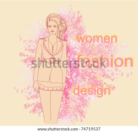 trendy girl in a short dress on a floral background