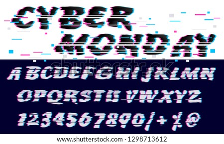 Trendy Glitch distorted font letters and numbers. Vector set with broken pixel effect,old distorted TV matrix effect. Video game alphabet in retro style stock photo