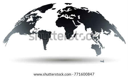 Trendy Globe Map in Deep Smoky Grey Color. Global Connections Concept. Vector Illustration