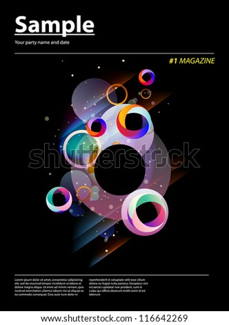 Trendy glowing magazine cover - abstract design template