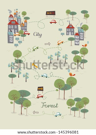 Trendy Go green city infographics concept. Vector illustration layered for easy manipulation and custom coloring.